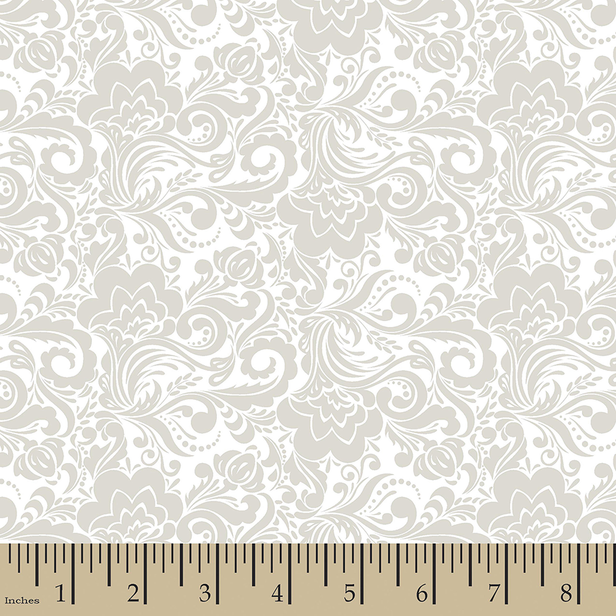 "Rosemary Feather Floral, Cotton, Grey, 44/45"" Wide, Fabric By The Yard"