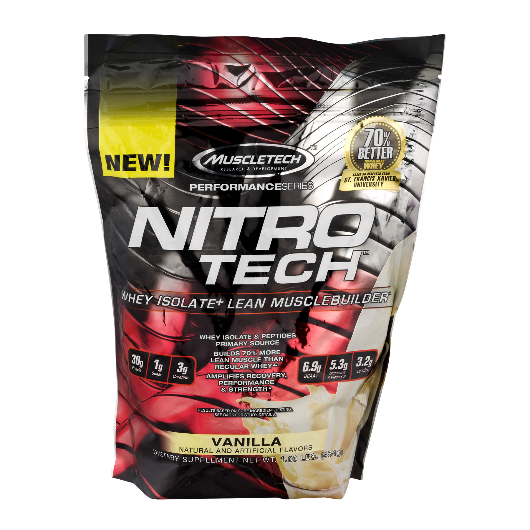 Muscletech Nitro Tech Whey Isolate Protein Powder, Vanilla, 30g Protein, 1 Lb