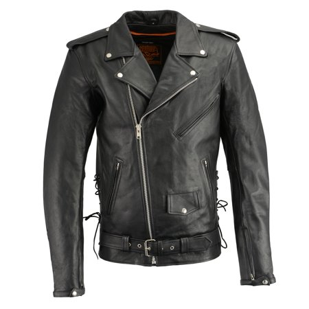 Milwaukee Leather Milwaukee Leather-LKM1711TALL-Men's Black TALL Side Lace Police Style M/C Jacket with Gun Pockets Black SM-T