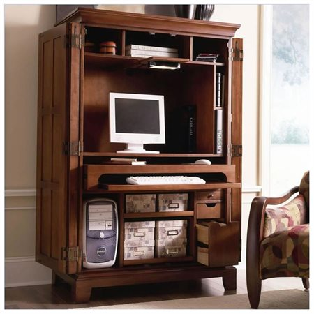 Riverside American Crossings Computer Armoire - Fawn Cherry