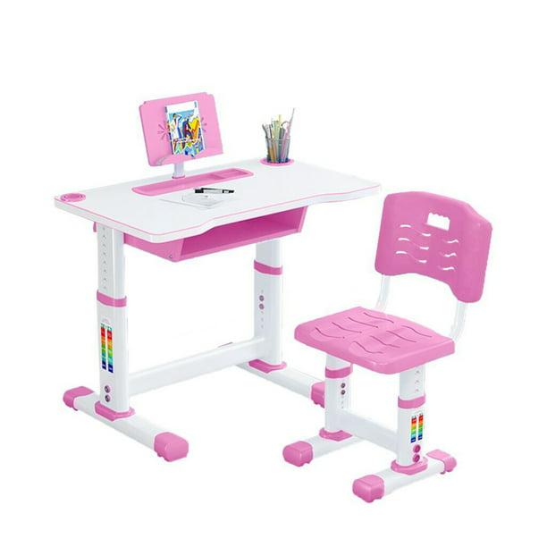 Chair Set With Tilt Desktop Metal Hook, Pink Metal School Desk