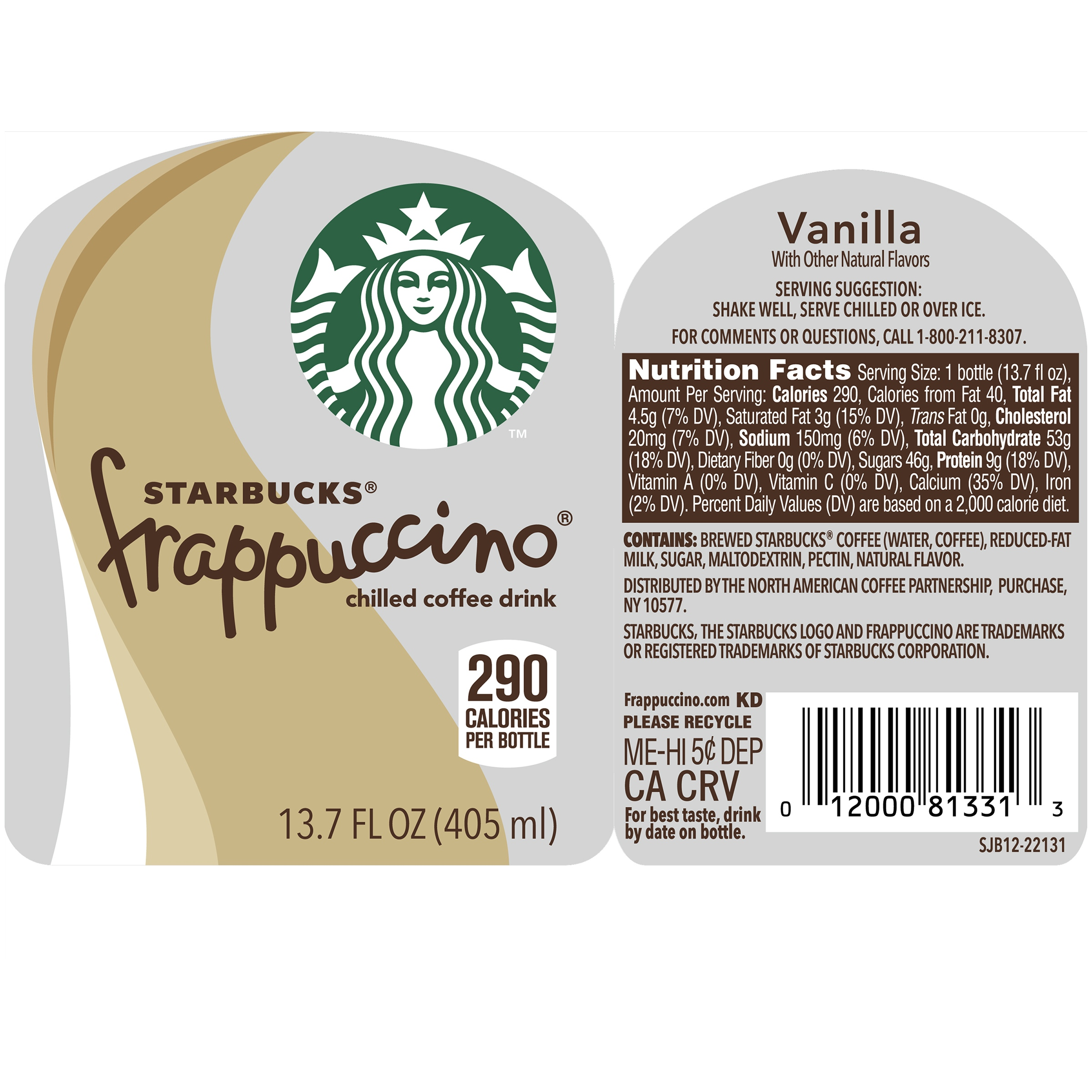 starbucks frappuccino coffee drink vanilla, 13.7 fl oz - walmart