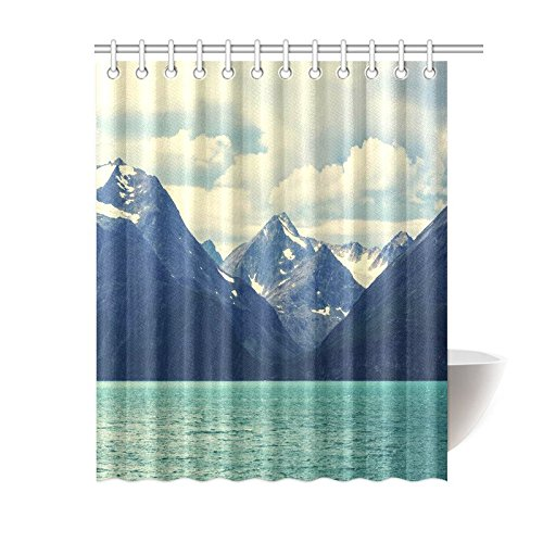GCKG Northern Norway Landscapes Shower Curtain Natural Scene Mountain Lake Polyester Fabric Bathroom Sets 60x72 Inches