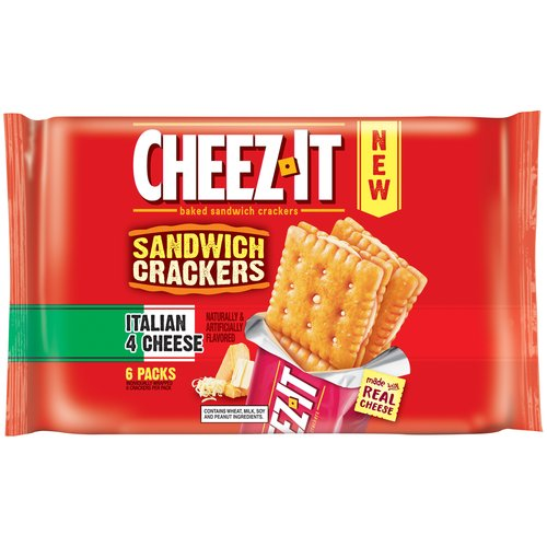 Cheez-It Italian 4 Cheese Baked Snack Sandwich Crackers, 1.48 oz, 6 pack