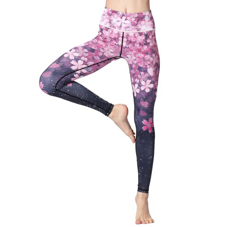 S-XL Women Ladies Floral Yoga Pants Fitness Leggings Active Wear Pants Compression Athletic Sports Trousers Capris Running Jogging Riding Stretchy Exercise Tights Long Workout Pink S