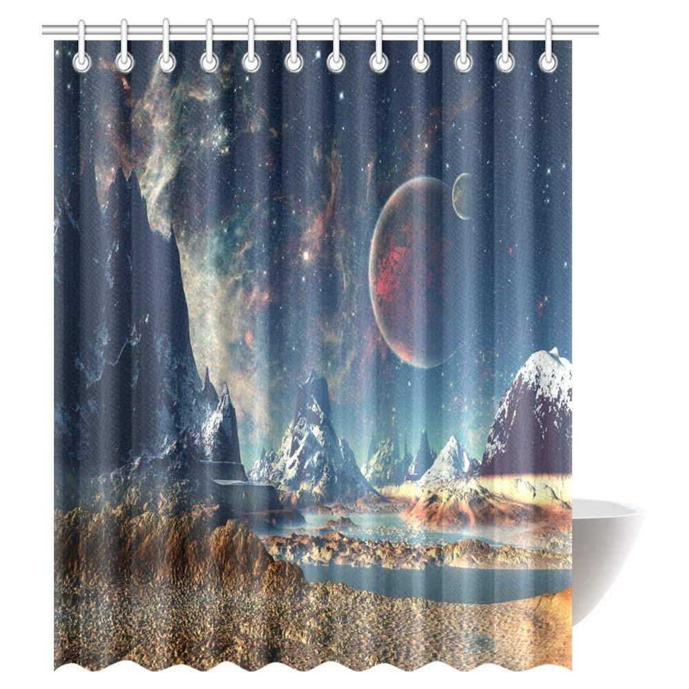 GCKG Fantasy Shower Curtain Alien Planet With Earth Moon And Mountain Sci Fi Galactic Future Cosmos Art Bathroom Hooks