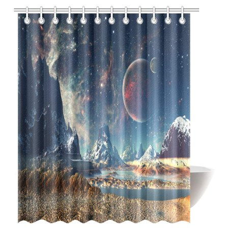 GCKG Fantasy Shower Curtain Alien Planet With Earth Moon And Mountain Sci Fi Galactic