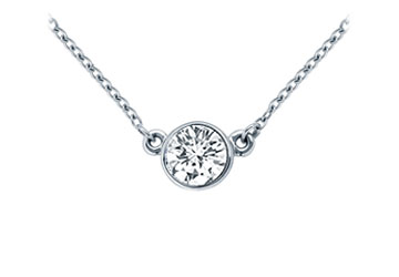 Platinum Bezel Set Round Diamond Solitaire Pendant 0.50 CT. TW. by Love Bright
