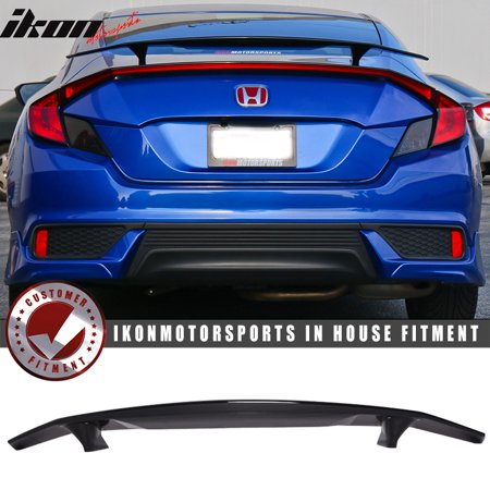 Civic Del Sol Spoiler - Fits 16-19 Civic X Coupe 2Dr Ikon Type A Trunk Spoiler Si Sport Glossy Black