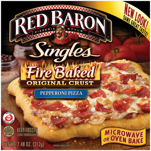 Red Baron Fire Baked Pepperoni Pizza Singles, 7.48 oz