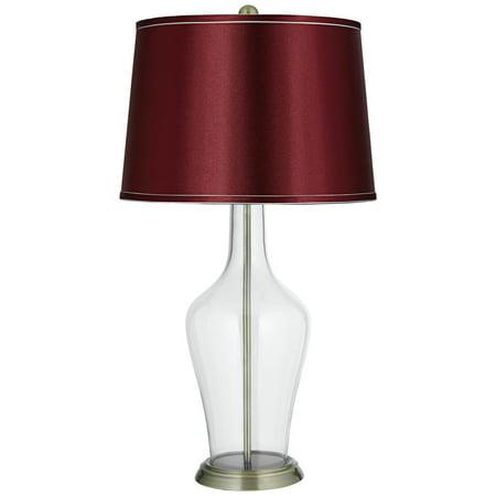 Color Plus Clear Glass Fillable Satin Merlot Shade Anya Table Lamp Walmart Com