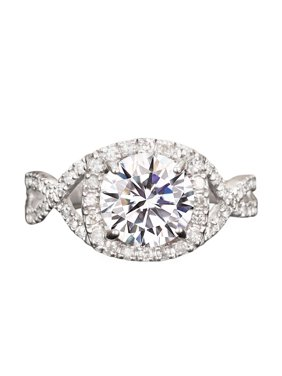 3 Carat Round cut Moissanite and Diamond infinity Halo Engagement Ring in White Gold