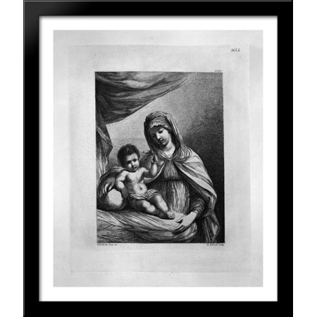 The Virgin standing, half-length, with the Child Jesus holding a flower 28x34 Large Black Wood Framed Print Art by Giovanni Battista - Jesus Flower