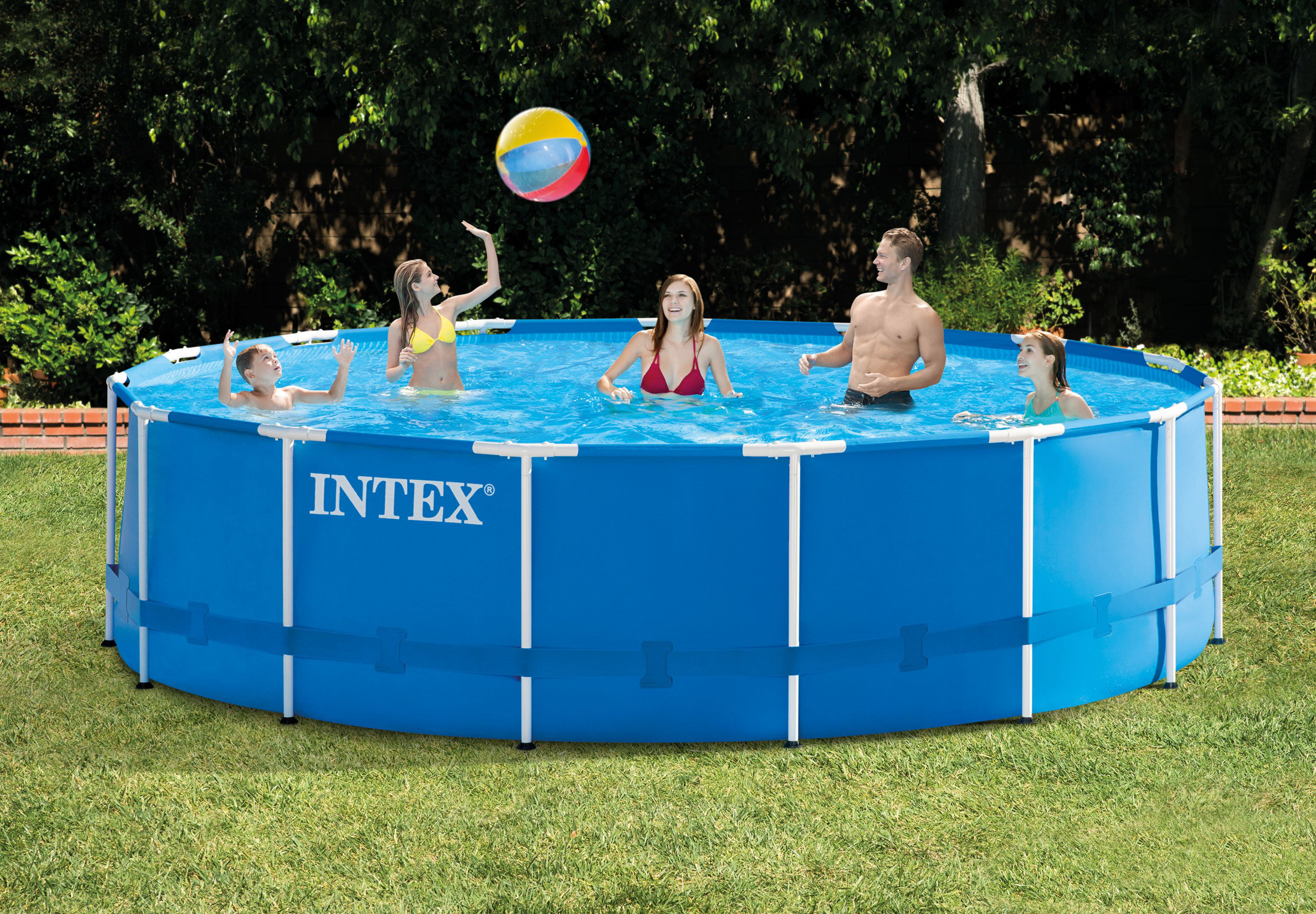 "Intex 15' x 48"" Metal Frame Above Ground Swimming Pool with Filter Pump by Above Ground Pools"