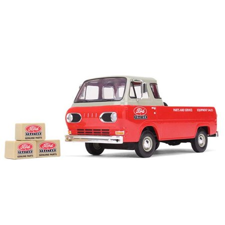 125 Tractor (1960's Ford Econoline Pickup Red with Boxes Ford Tractor Parts & Service 1/25 Diecast Model Car by First)