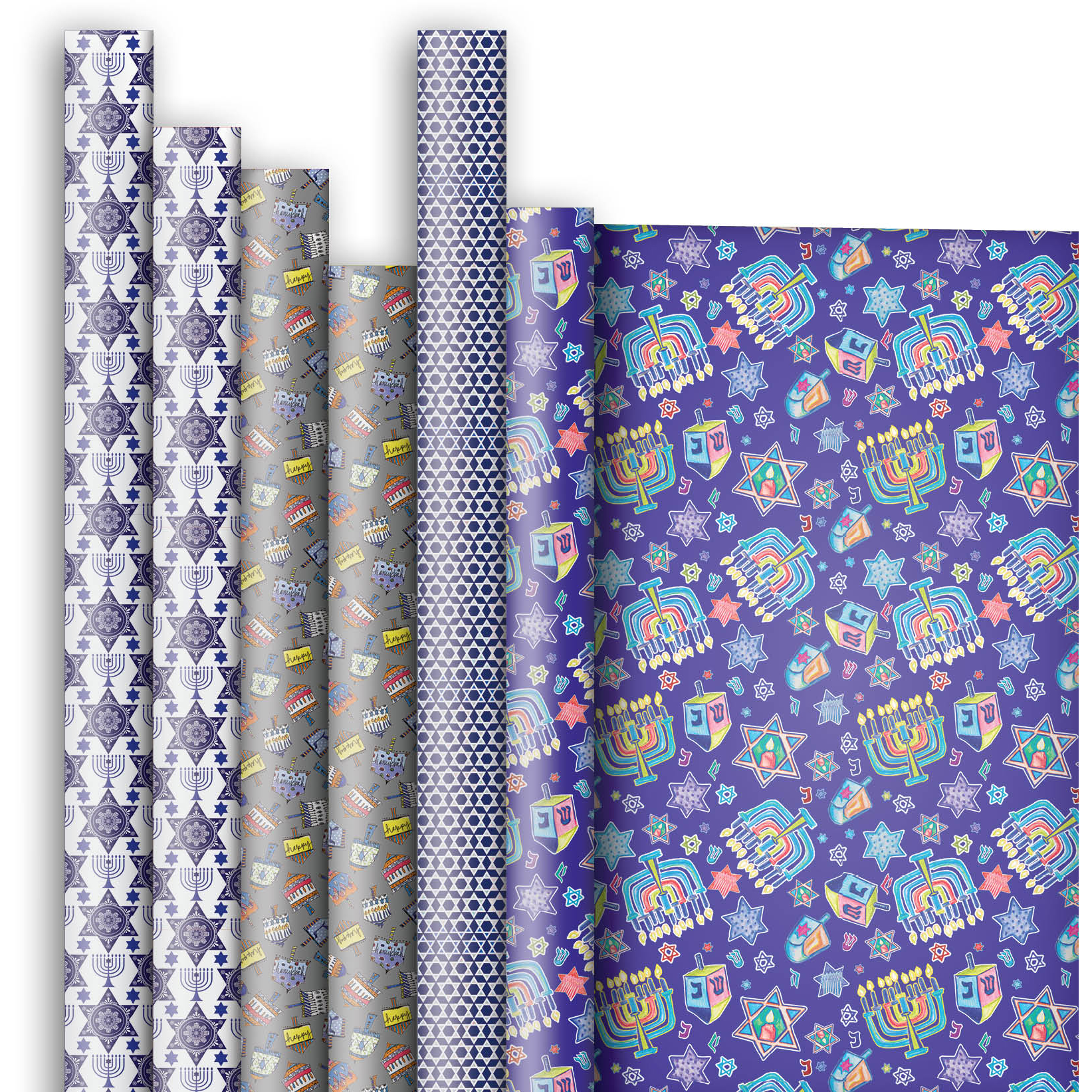 Jillson & Roberts Premium Gift Wrap Roll Assortment, Hanukkah Designs (6 Rolls)