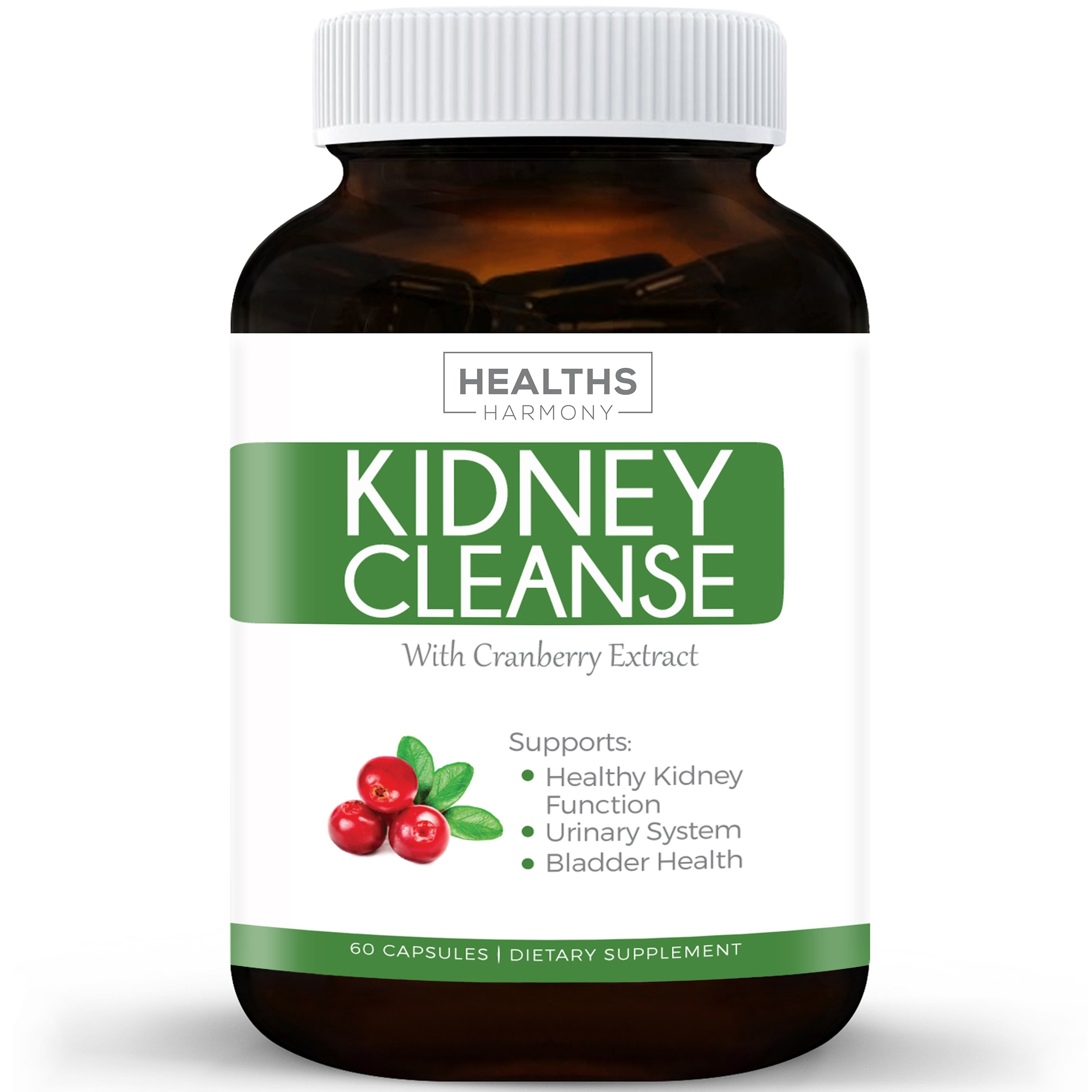 Best Kidney Cleanse (Vegetarian) Supports Bladder Control & Urinary Tract - Powerful Cranberry Extract - Natural Herbs Supplement - Kidney Health, Flush & Detox - 60 Capsules No Pills