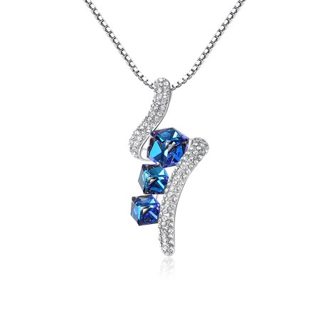 Leafael Crystal Cubes Pendant Necklace Made with Swarovski Crystals Sapphire Blue Jewelry, Silver Plated, 17