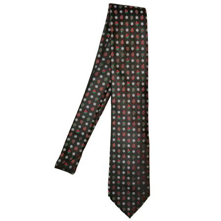 Snowflake Tie (Men's Black Neck Tie With Christmas Ornaments and Snowflakes Holiday Necktie )