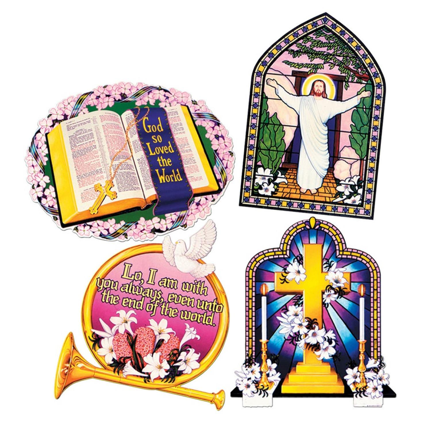 Club Pack of 48 Multi-Colored Religious Inspirational Cutout Party Decorations 16""