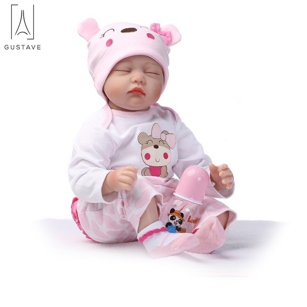 "GustaveDesign Reborn Baby Dolls 22"" Cute Realistic Soft Silicone Vinyl Newborn Baby Sleeping Doll Birthday Gift"