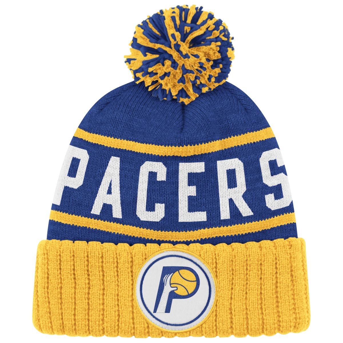 "Indiana Pacers Mitchell & Ness NBA ""High 5"" Cuffed Knit Hat w Pom Blue by Mitchell & Ness"