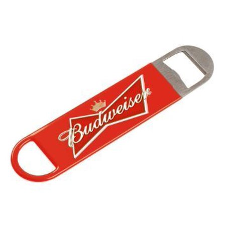 - Bowtie Bartenders Paddle Bottle Opener, Commercial Grade Steel with Red Vinyl Handle Wrap By Budweiser,USA