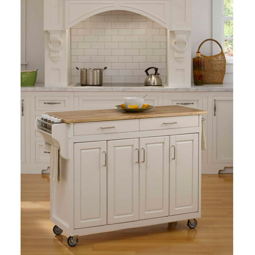 Home Styles Create-a-Cart, White with Wood Top