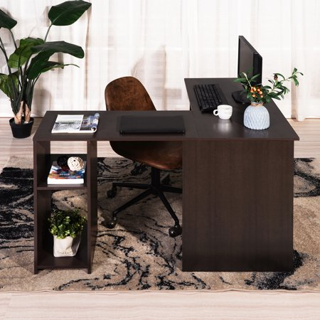 Ul Li L Shaped Corner Desk, Corner Desk Brown