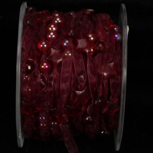 "Burgundy Narrow Organdy with Stars Tulle Craft Ribbon 3/8"" x 27 yards"