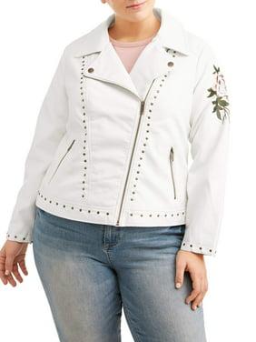 e4c333387799 Product Image Women s Plus Size White Studded Leather Jacket with Rose