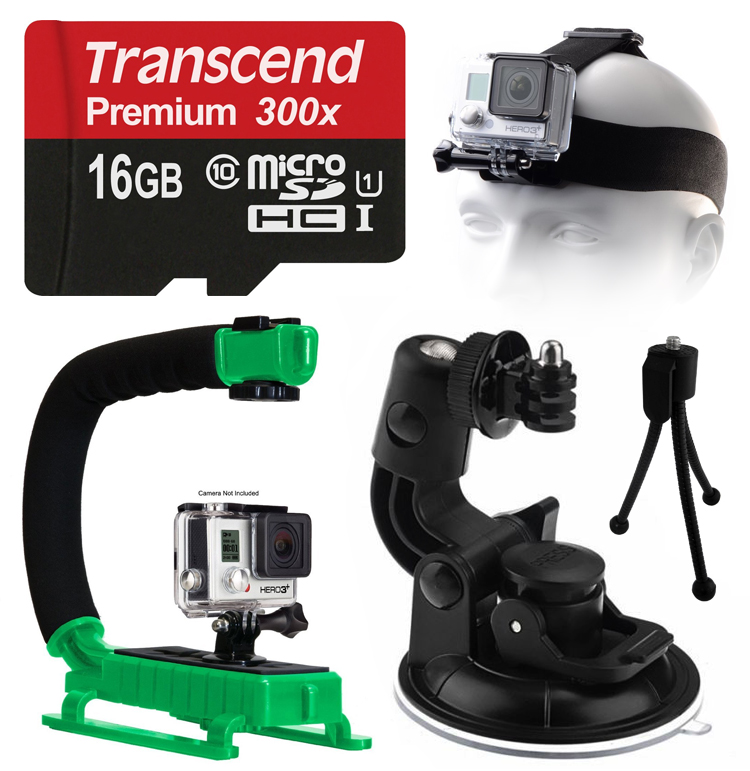 Opteka xGrip Stabilizing Action Grip Handle Handheld Holder (Green) , 16GB MicroSD Card, Car Mount+ Head Strap, Mini Tripod, Dust Removal Cleaning Care Kit for GoPro Hero4 Hero3+ Hero3, Camera