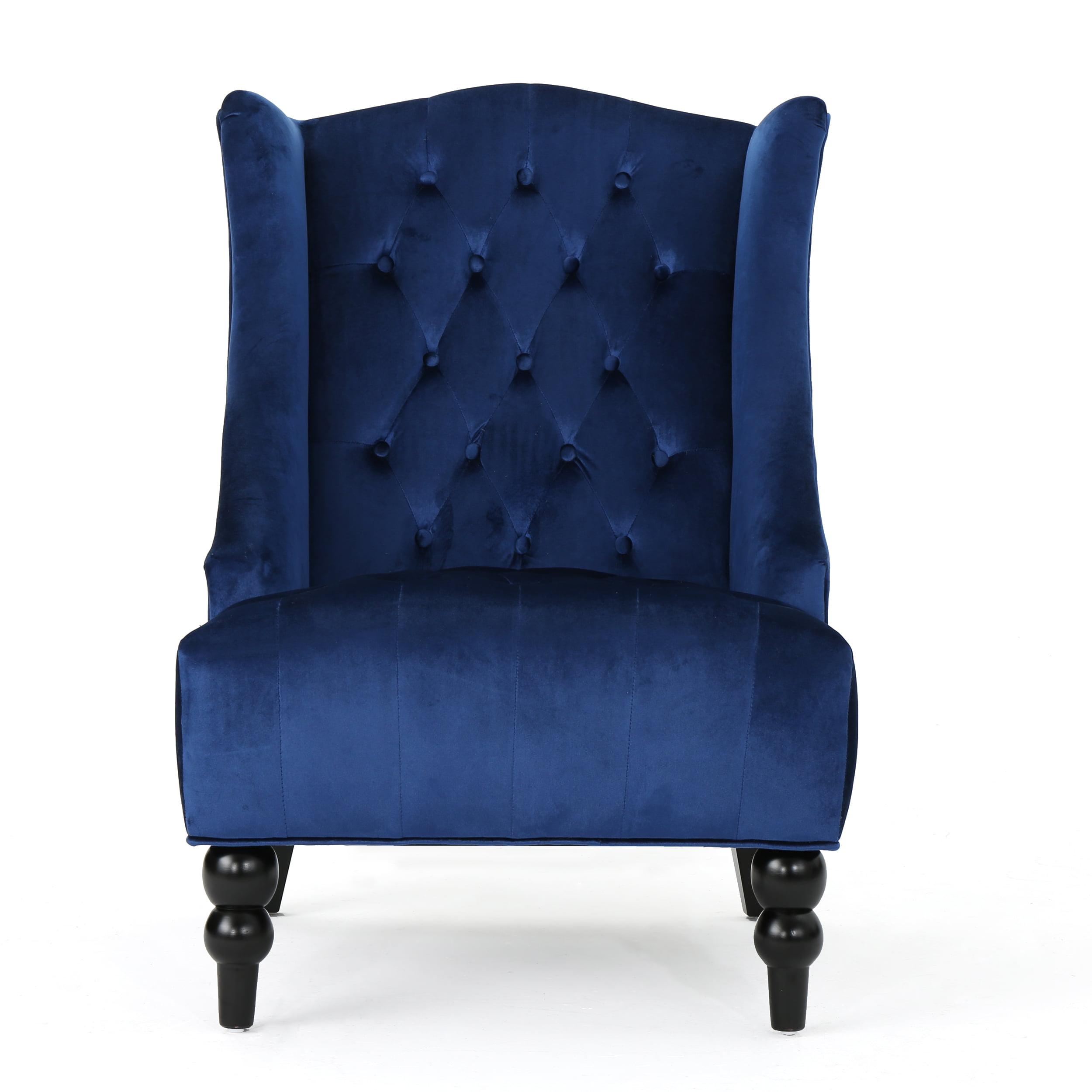Talisa High-Back New Velvet Club Chair, Navy Blue by GDF Studio