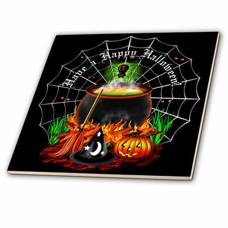 3dRose Halloween Cauldron, Jack-o-Lantern, witch hat and black widow. - Ceramic Tile, 12-inch