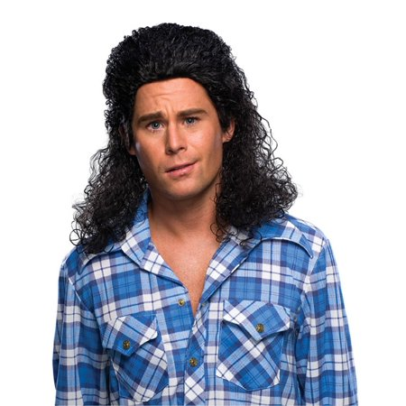 Curly Black Mullet Wig Adult Mens Kenny Powers A.C. Slater Saved By Bell Costume - Ac Slater Wig