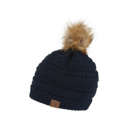 Gravity Threads Cable Knit Faux Fur Pom Pom Beanie - Blue Fur Hat