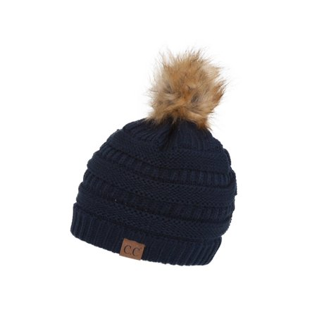Gravity Threads Cable Knit Faux Fur Pom Pom Beanie Hat - White Derby Hat