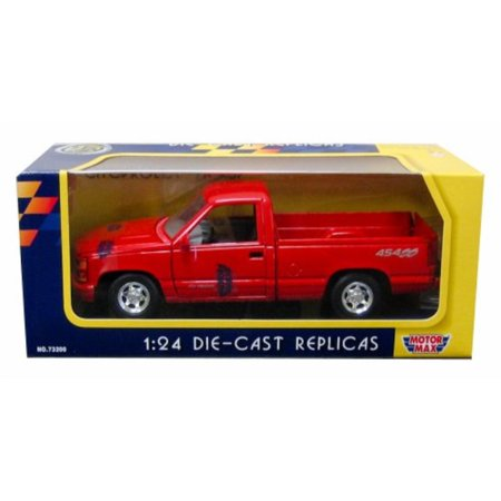Chevy Pickup Truck - motormax 1992 chevy 454 ss pickup truck 1/24 scale diecast model car red