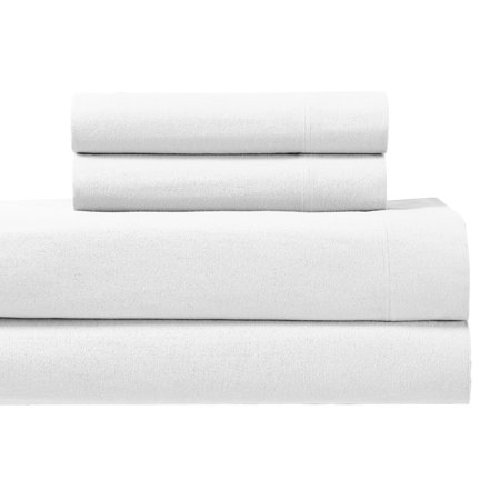 170GSM Heavyweight 100% Cotton Queen Size Flannel Sheet Sets Ultra Soft & Warm -White