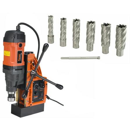 Cayken SCY-42HD 1.65in. Magnetic Drill Press with 1700W Variable Speed Motor Weldon Shank 7 Piece 2in. Cut Depth Annular Cutter
