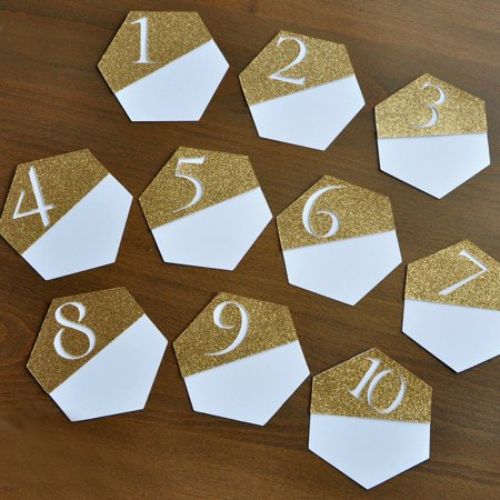 Table Number Cards (Gold Table Numbers. Hexagon Wedding Decor. Gold Table Number Cards 1-10. Modern Table)