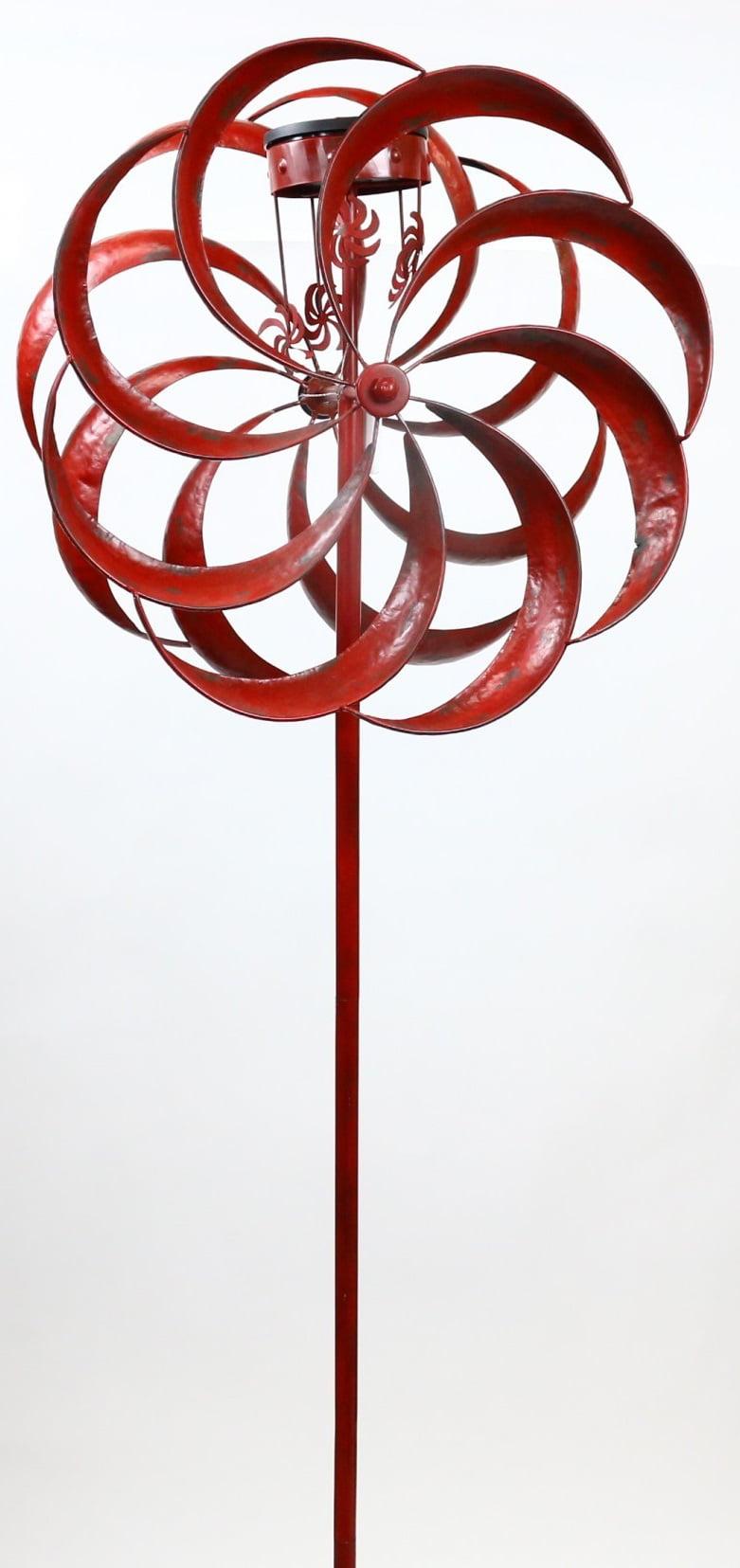 Solar Red Windmill Garden Stake by Benzara