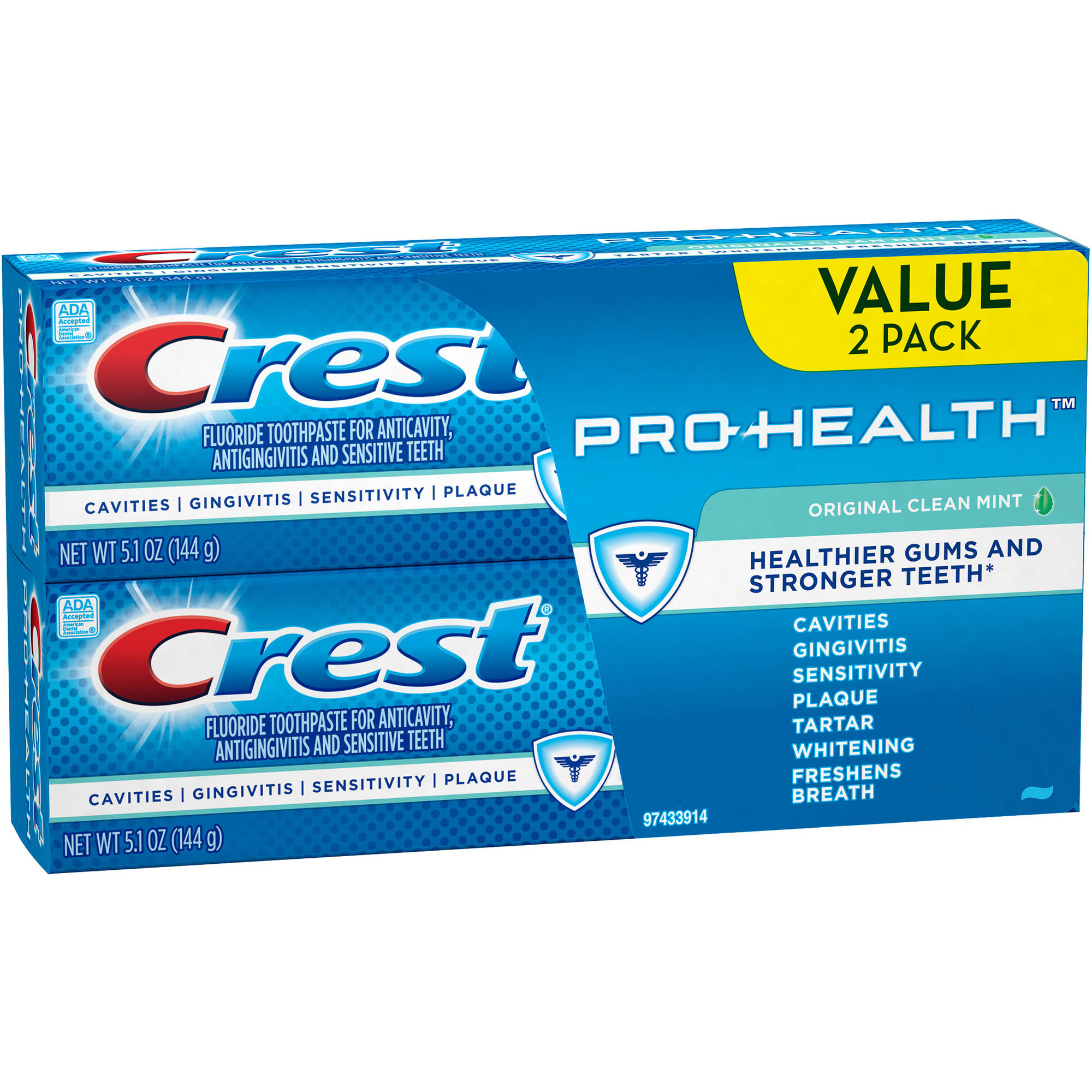 Crest Pro-Health Original Clean Mint Toothpaste, 5.1 oz, (Pack of 2)