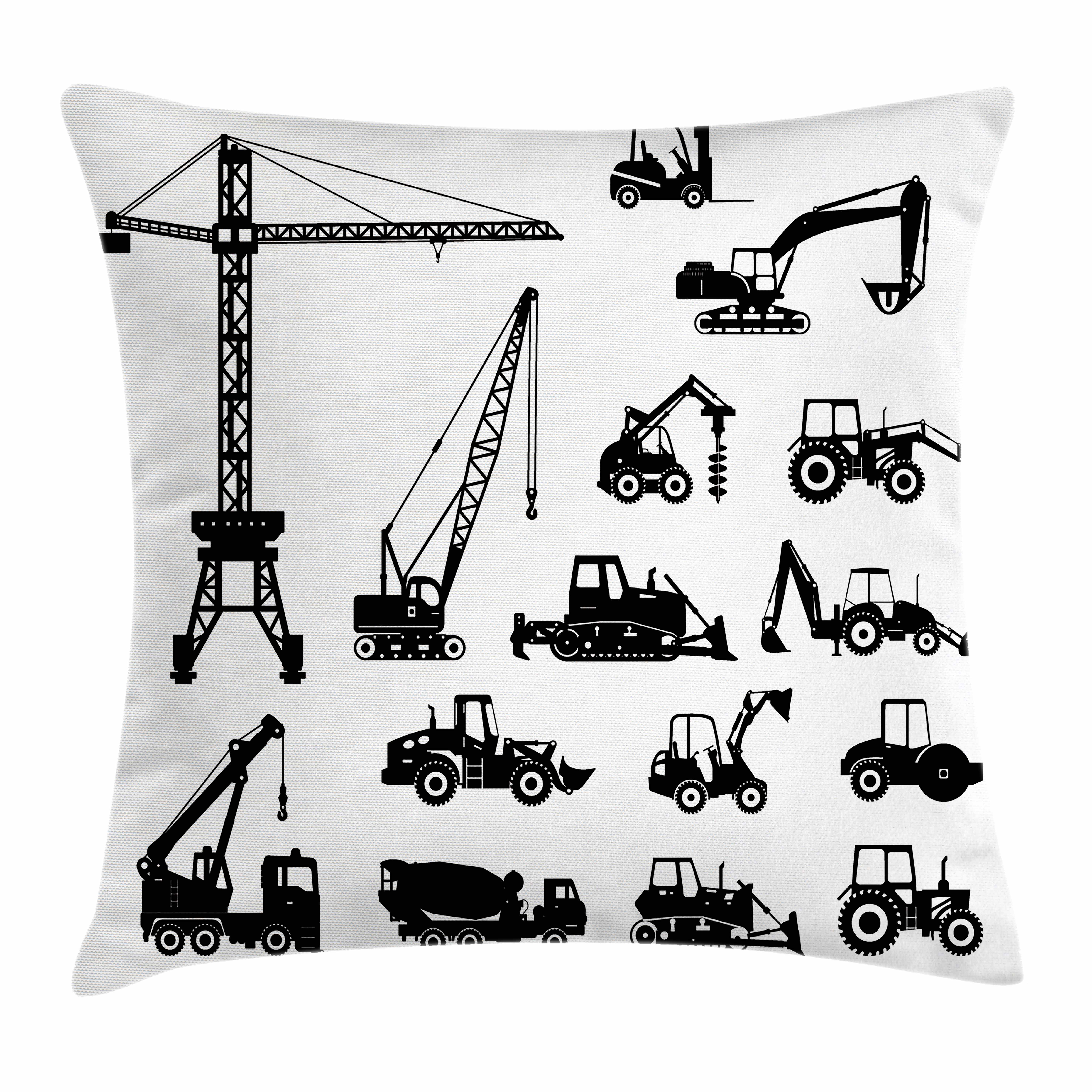Construction Throw Pillow Cushion Cover, Black Silhouettes Concrete Mixer Machines Industrial Set Trucks Tractors,... by Kozmos