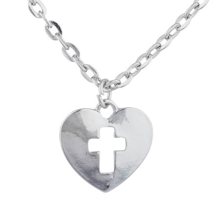 Lux Accessories Silver Tone Heart cut out Cross Religious Charm Pendant Necklace