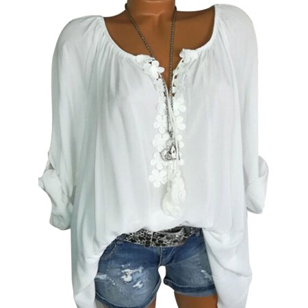 Plus Size Tops for Women Casual V Neck Tops Shirt Ladies Lace Stitching Summer Blouse Roll-Up Long Sleeve Tee Tops-5XL