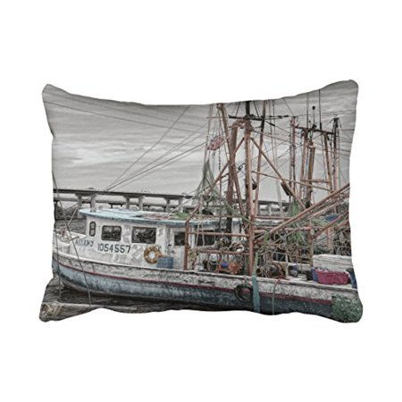 WinHome Rectangle Throw Pillow Covers Vintage Gray Beige Fishing Boat Ocean Marina Grey Pillowcases Polyester 20 x 30 Inch With Hidden Zipper Home Sofa Cushion Decorative (Beige Gravy Boat)