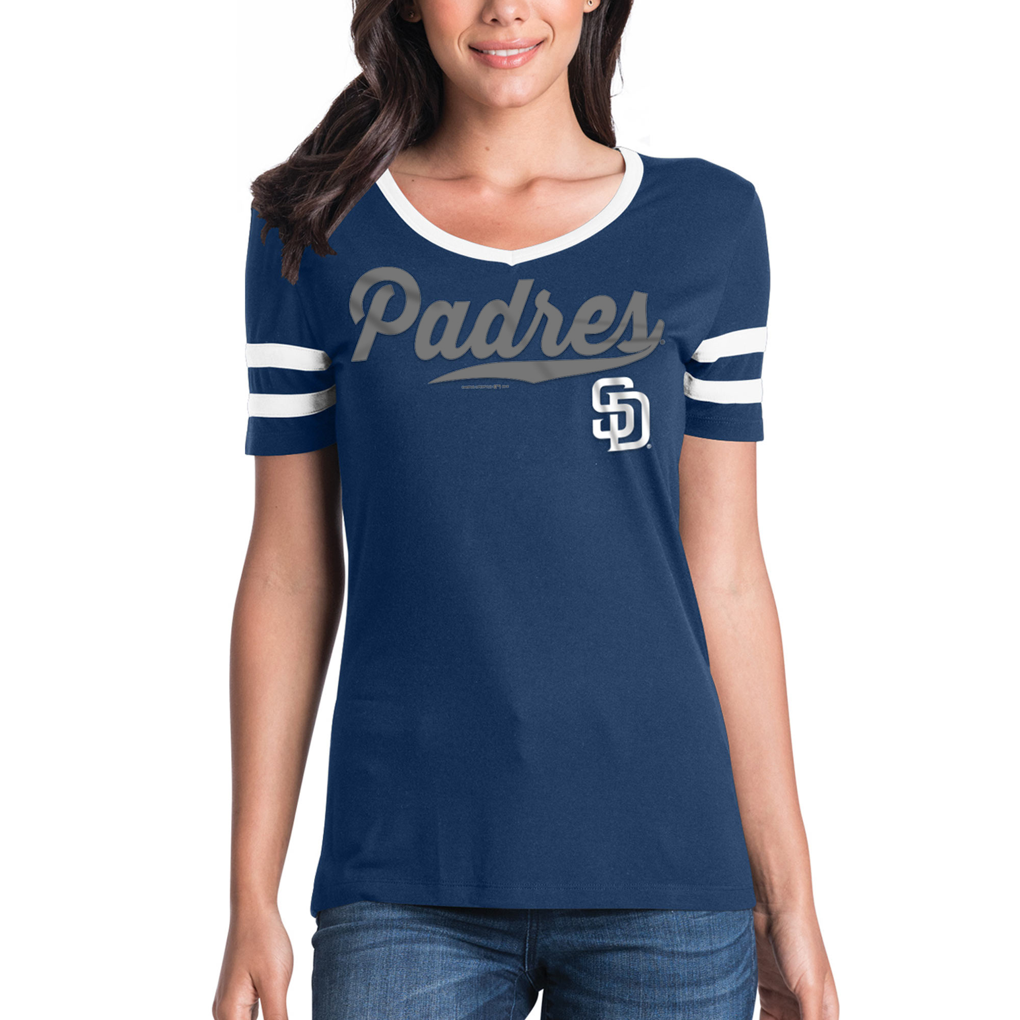 Women's New Era Navy San Diego Padres Jersey V-Neck T-Shirt