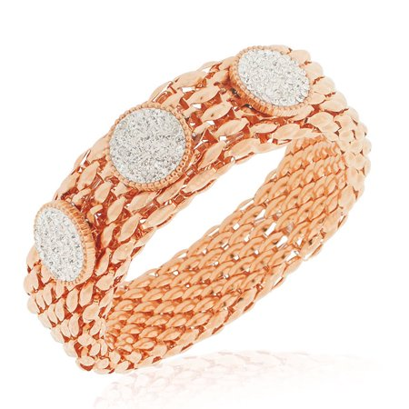 Stainless Steel Rose Gold-Tone Clear CZ Mesh Stretch Circles Bracelet, 8""