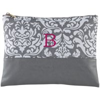 Personalized Gray Damask Embroidered Zip Pouch - Available in 2 Fonts